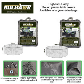 Bulhawk® Premium Quality Round Garden Table Furniture Cover - Available in Large or Extra Large - Grey or Brown