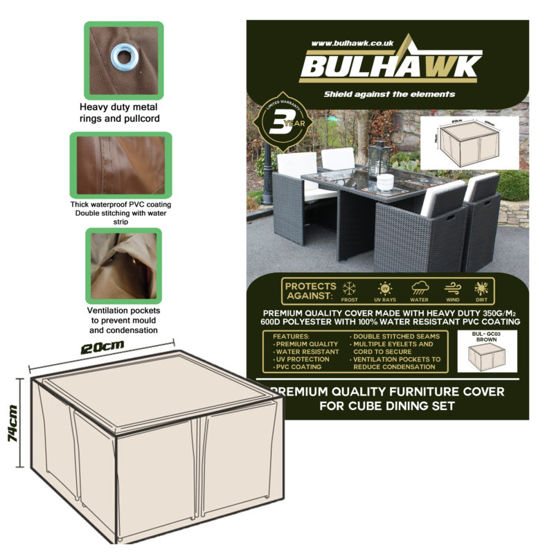 Bulhawk Premium Quality Garden Cube Table Cover 120x120x74cm Available In Grey Or Brown