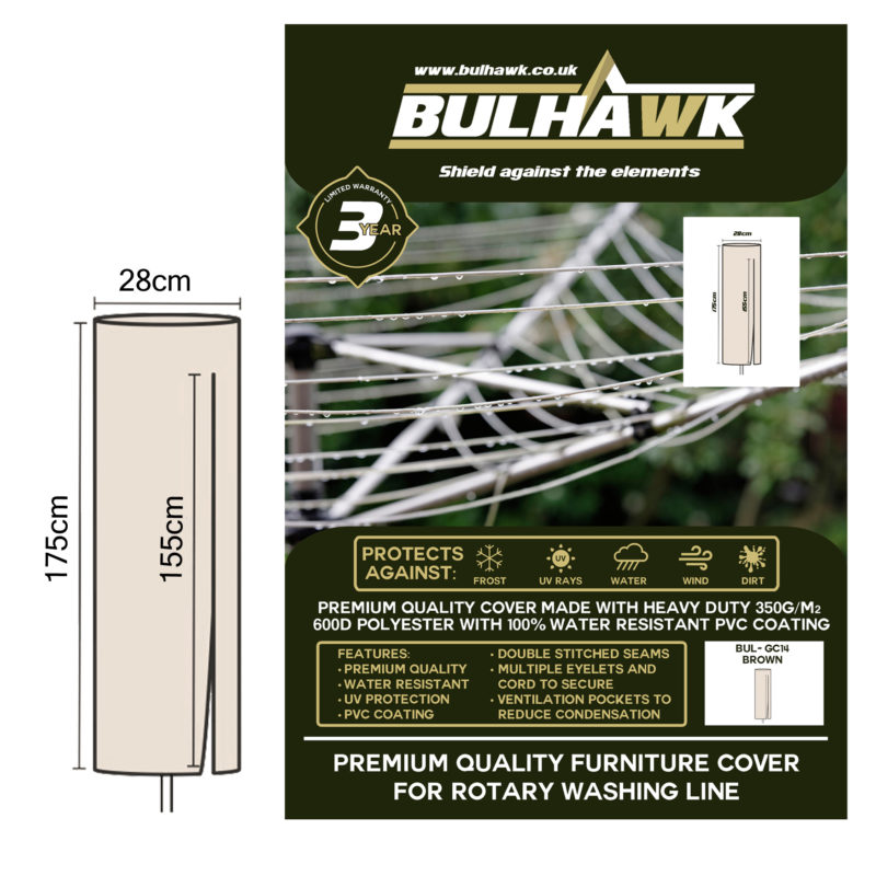 Bulhawk® Premium Quality Garden Rotary Washing Line Cover (175 x 28cm) -  Available in Grey or Brown