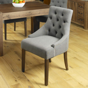 Walnut Accent Upholstered Dining Chair - Slate (Pack Of Two)