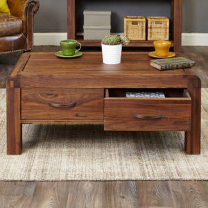 Shiro Walnut Four Drawer Coffee Table