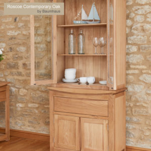 Roscoe Contemporary Oak Glazed Display TOP with Oak Sideboard