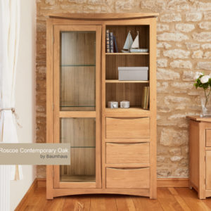Roscoe Contemporary Oak Glazed Display Cabinet