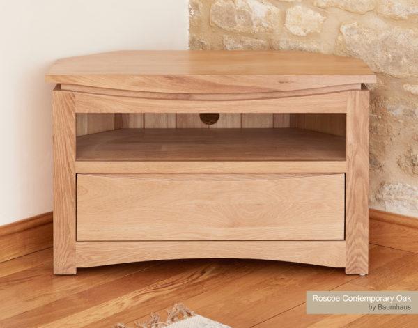 Roscoe Contemporary Oak Corner Television Cabinet