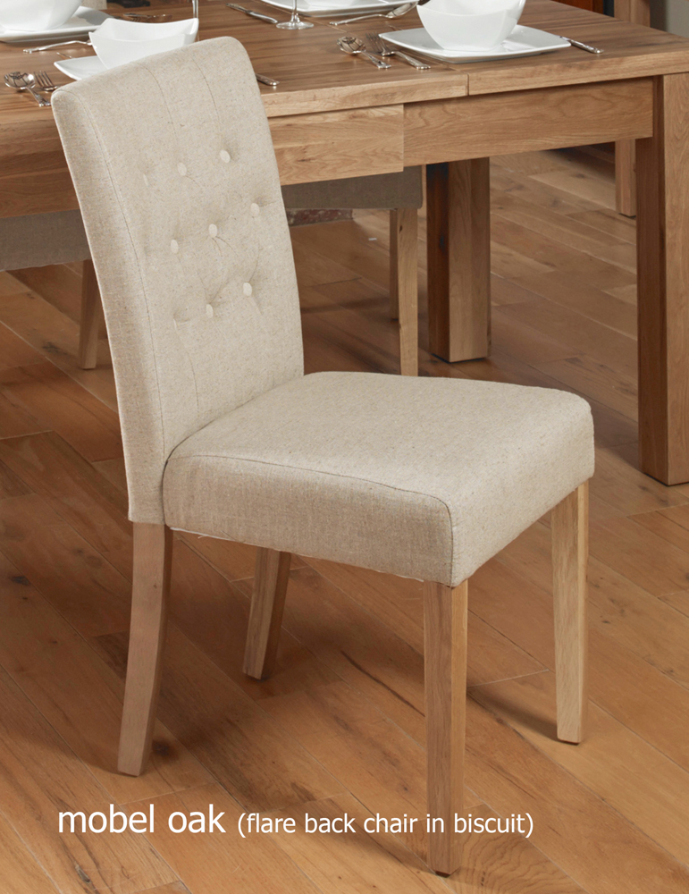 Oak Flare Back Upholstered Dining Chair - Biscuit (Pack of Two)
