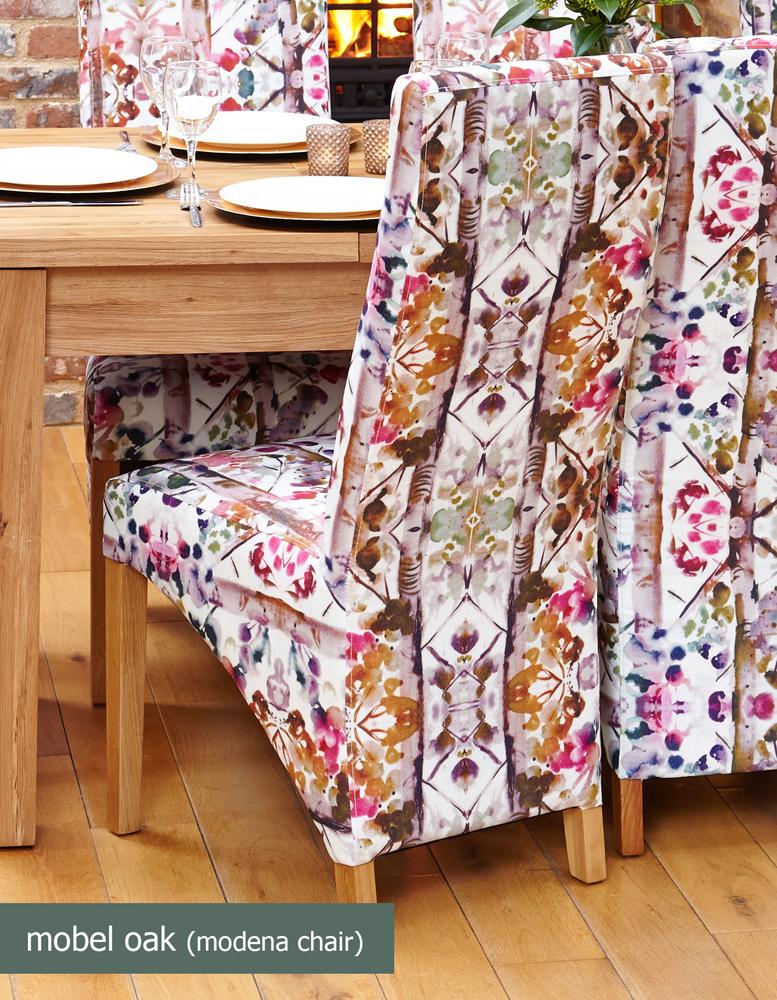 Oak Full Back Upholstered Dining Chair - Modena (Pack of Two)