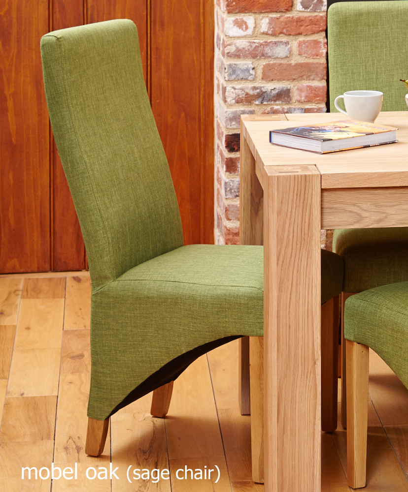 Oak Full Back Upholstered Dining Chair - Sage (Pack of Two)