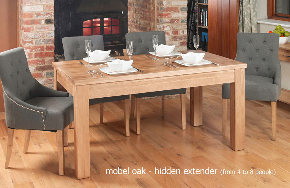 mobel hidden extending oak dining table seats 4 8