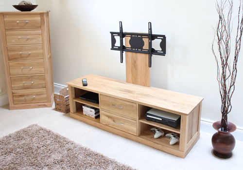 Mobel Oak Mounted Widescreen Television Cabinet