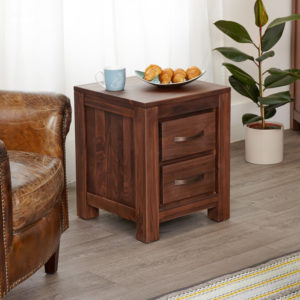 Mayan Walnut Two Drawer Lamp Table