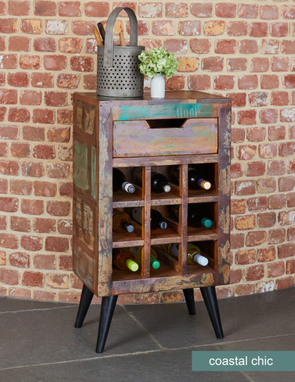 Coastal Chic Wine Rack Lamp Table