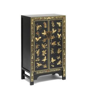 The Nine Schools Oriental Decorated Black Medium Cabinet