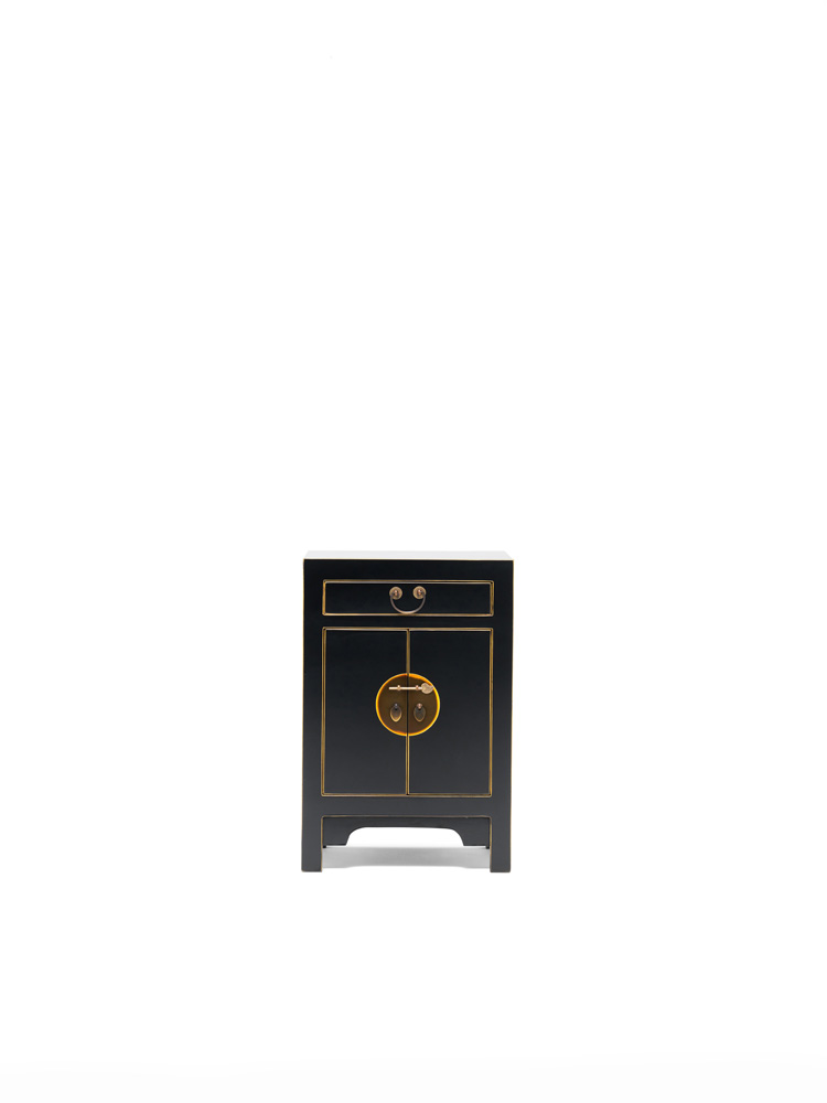 The Nine Schools Qing Black and Gilt Small Cabinet
