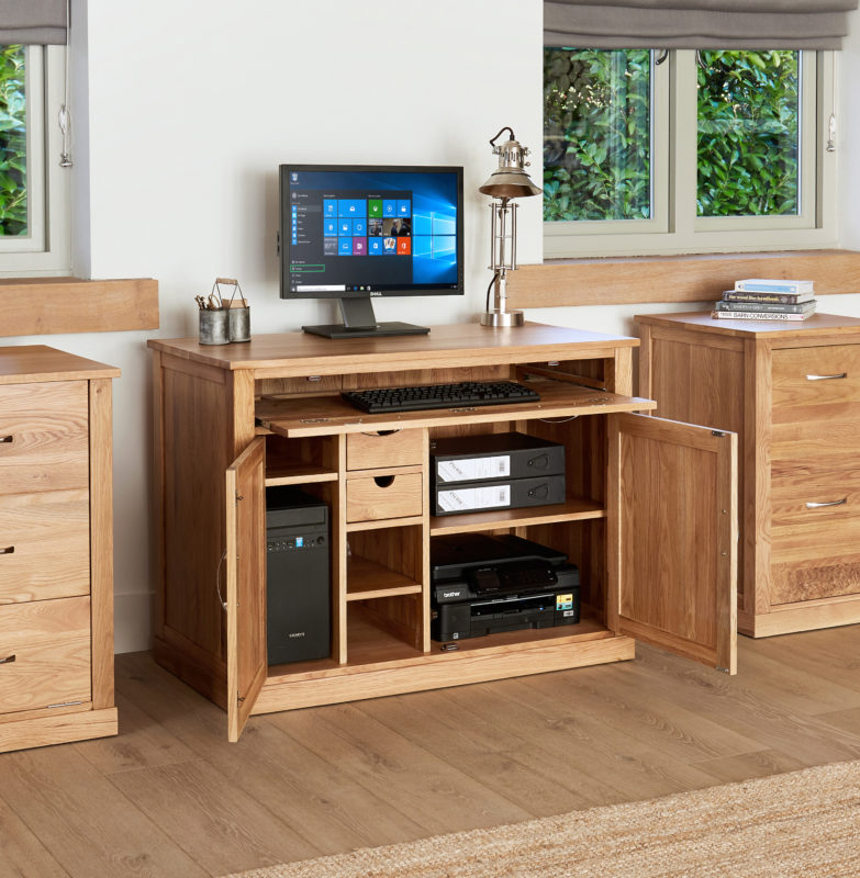 Baumhaus Mobel Oak Hidden Home Office Desk