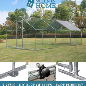Heavy Duty Galvanised Steel Chicken Run Coop Enclosure - Suitable for Pets, Chickens, Hens, Rabbits, Dogs, Ducks and Poultry - Available in 3 Sizes