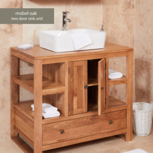 Solid Oak Two Door Single Bathroom Sink Unit (Square)