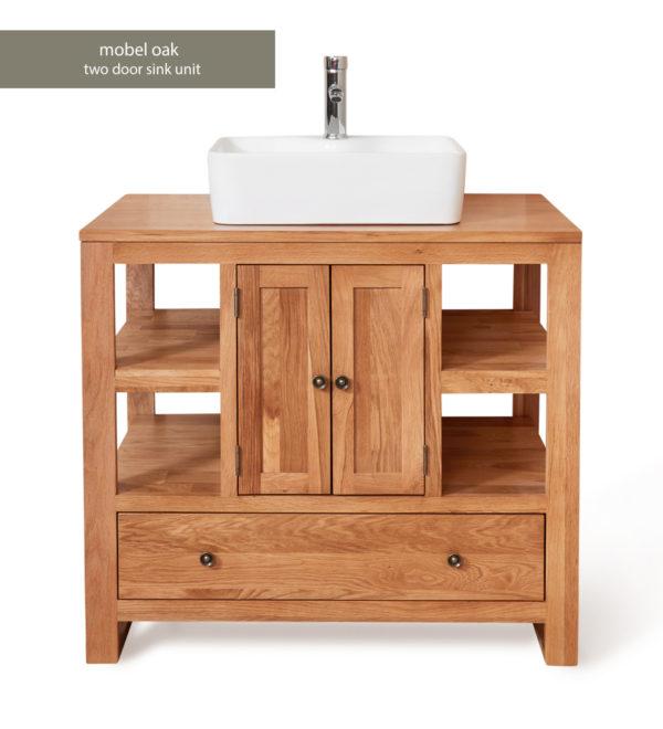 Solid Oak Two Door Single Bathroom Sink Unit (Square)