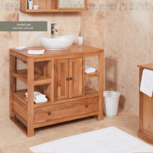Solid Oak Two Door Single Bathroom Sink Unit (Round)