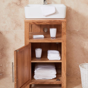 Solid Oak Single Door Bathroom Sink Unit (Square)