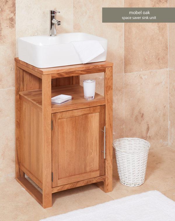 Solid Oak Single Door Bathroom Sink Unit (Square)