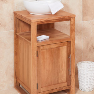 Solid Oak Single Door Bathroom Sink Unit (Round)