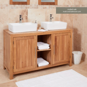 Solid Oak Dual Bathroom Sink Unit with Two Doors (Square)