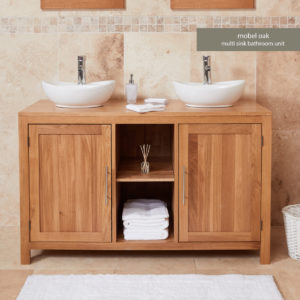 Solid Oak Dual Bathroom Sink Unit with Two Doors (Round)