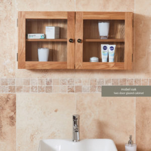 Solid Oak Glass Double Door Bathroom Cabinet