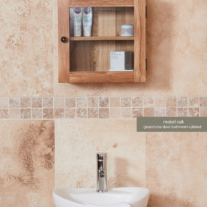 Solid Oak Glass Single Door Bathroom Cabinet