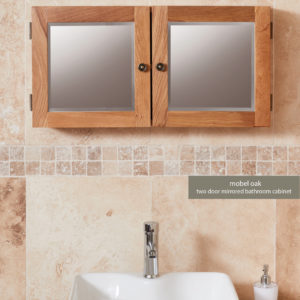 Solid Oak Mirrored Double Door Bathroom Cabinet