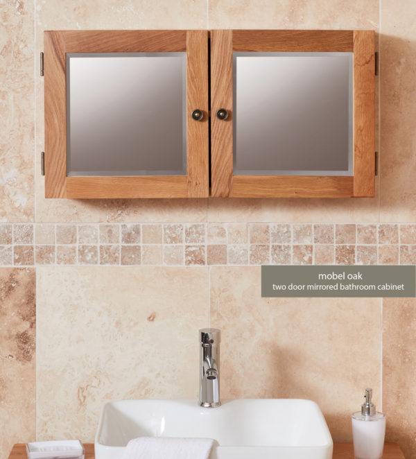 Solid Oak Mirrored Double Door Bathroom Cabinet