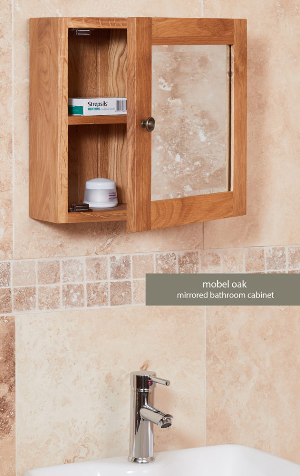 Solid Oak Mirrored Single Door Bathroom Cabinet