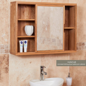 Solid Oak Mirrored Wall Bathroom Shelf Unit