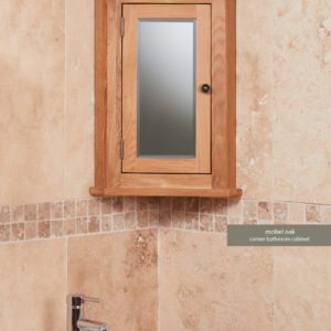 Solid Oak Mirrored Corner Wall Bathroom Cabinet