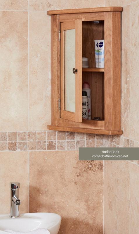 Solid Oak Mirrored Corner Wall Bathroom Cabinet