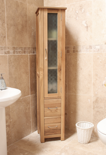 Mobel Oak Closed Bathroom Unit Tall