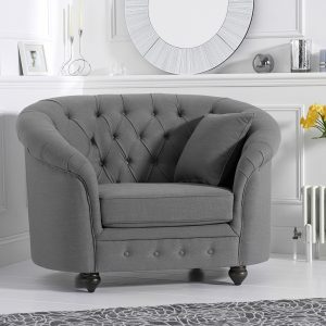 Casey Grey Linen Arm Chair - PT32112